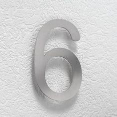 Hausnummer 6 aus Edelstahl, klein Hausnummer 6