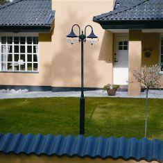 2-flammiger Mast im klassischen Stil in matt schwarz oder matt weiß - Höhe 244,5cm