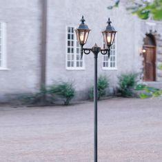 2-flammiger Laternenmast im klassischen Stil - in schwarz oder weiß