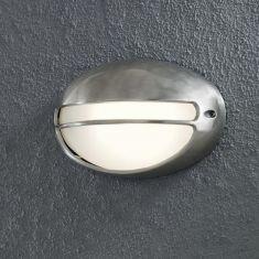Moderne Aussenwandleuchte aus Aluminium edelstahlfarben mit opalem Acryl-Glas