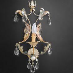 1-flammige Wandleuchte - Handgemacht in Italien - Glasbehang oder Bleikristallbehang wählbar