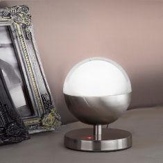 1-flg LED-Tischleuchte, Nickel mit Acrylglas weiß, Touchdimmer