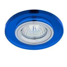 1-flg. Einbaustrahler rund mit Glas blau, Halogen GU10 35W