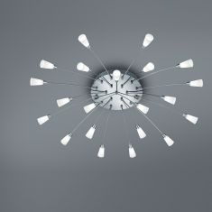 21-flg. LED-Deckenleuchte rund 100 cm in Nickel-matt