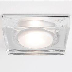 230V Badezimmer-Einbaustrahler IP65, aus Klarglas - eckig