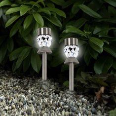 2er Set LED-Solar-Dekoleuchte Cup weiß