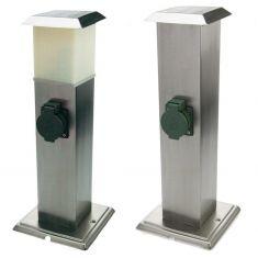 2-fach-Steckdosensäule aus Edelstahl mit oder ohne Beleuchtung