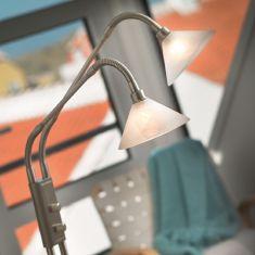 2-flammige Leseleuchte mit Drehdimmer, Alabasterglas