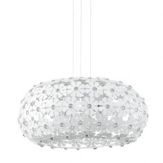 2-flammige Pendelleuchte aus weißen Blüten mit Kristallelementen