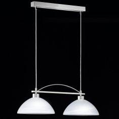 2-flammige Pendelleuchte in Nickel-matt/Chrom, mit Alabasterglas - Länge 65cm - inklusive Leuchtmittel 2x E27 40W