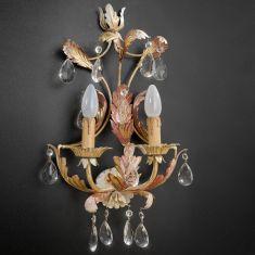 2-flammige Wandleuchte - Handgemacht in Italien - Glasbehang oder Bleikristallbehang wählbar
