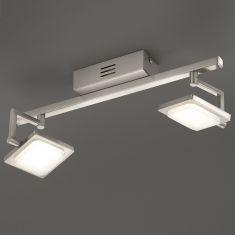 2-flg. LED-Deckenleuchte Chrom - 2x 4,3W, dimmfähig + Extra 1x GU10 LED Leuchtmittel zur freien Nutzung