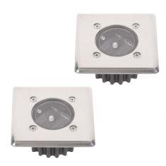 2-er Set LED-Solar-Bodeneinbauleuchte McShine  IP44 Edelstahlfront eckig