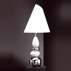 Leuchte mit Keramik weiß / silber, Schirm weiß verstellbar