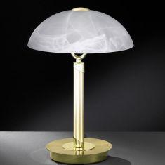Tischleuchte in Messing-matt mit Alabasterglas messingfarbig, Messing-poliert/Messing-matt