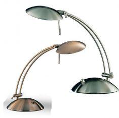 Tischleuchte mit Drehdimmer in Nickel matt oder Altmessing - inklusive Leuchtmittel