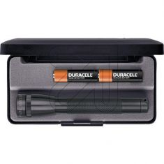 Mag Lite Taschenlampe Mini schwarz verstellbar von Spot auf Flood inkl. Geschenketui und 2x Mignon Batterie AA