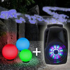 3er Kugelleuchten Set Ø 20, 25, 30 cm, RGB-Leuchtmittel, Soundanlage