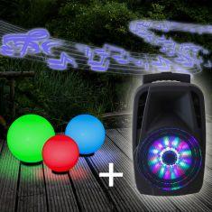 3er Kugelleuchten Set 20, 30, 40 cm mit RGB-Leuchtmittel & Soundanlage
