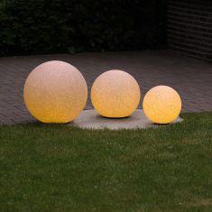 3er-Set Kugelleuchten 20, 30 und 40 cm Ø Sandsteinoptik