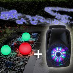 3er-Set Kugelleuchten 2x 20 cm und 1x 30 cm + RGB-Leuchtmittel + Soundanlage