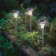 3er-Set LED-Solarleuchte aus Edelstahl Höhe 46cm mit Erdspieß