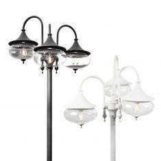 3-flammiger Laternenmast im klassischen Stil - in 2 Farben - Höhe 256cm