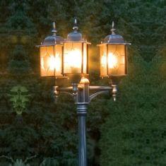 3-flammiger Laternenmast in schwarz/silber mit Acrylglas in Bleikristalloptik