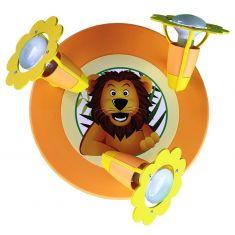 3-flammiges Deckenrondell mit großem Löwe in lachsfarben
