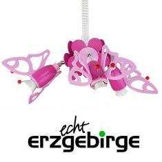 3-flammiges Zugrondell fürs Mädchenzimmer mit rosafarbenen Faltern
