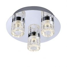3-flg. LED-Deckenleuchte Chrom 25cm, IP44, 3x 6W LED