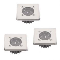 3-er Set LED-Solar-Bodeneinbauleuchte McShine  IP44 Edelstahlfront eckig