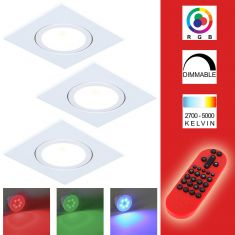 3-er Set RGB LED-Einbaustrahler alu, eckig  inkl. Fernbedienung
