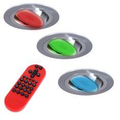 3-er Set RGB LED-Einbaustrahler alu, rund  inkl. Fernbedienung