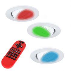 3-er Set RGB LED-Einbaustrahler weiß, rund inkl. Fernbedienung