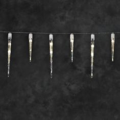 Micro LED Eiszapfen-Lichtervorhang für Außen, 24 warm weiße LEDs, Länge 1375cm