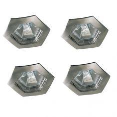 4er-Set Einbauleuchten hexagonal in Eisen-gebürstet IP44 inklusive Leuchtmittel und Trafo