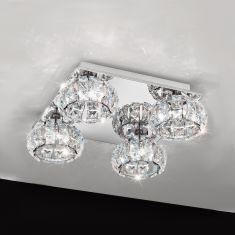 4-flammig LED-Deckenleuchte Chrom mit klarem Kristallglas