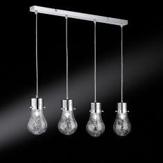 4-flammige Pendelleuchte in Glühbirnenform - Klarglas