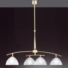 4-flammige Pendelleuchte in Messing-matt - verstellbar in Höhe und Breite - inklusive Leuchtmittel 4x E14 25W