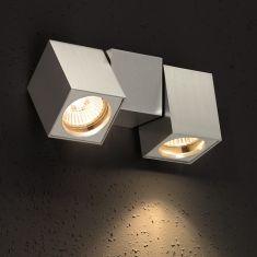 Schwenkbare minimalistische Wandleuchte -  Aluminium gebürstet - 2-flammig