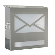 Briefkasten aus Edelstahl mit Acrylglasscheibe - Zeitungsfach