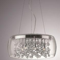 Pendelleuchte mit Glaskugelbehang - 8 flammig, Ø 50cm 8x 33 Watt, 50,00 cm, 16,00 cm, 123,00 cm