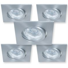 5er Set Eckiger LED Decken-Einbaustrahler
