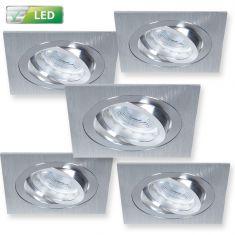 5er Set LED-Einbaustrahler Alu-gebürstet Eckig - 5 x GU10 5W