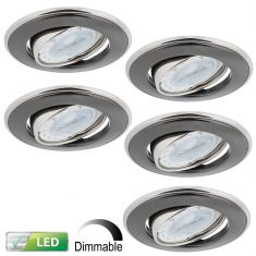5er-Set LED-Einbaustrahler  Nickel und Graphit Dimmbar