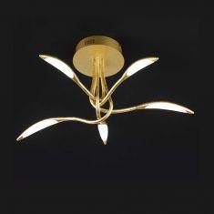 5fl. LED Deckenleuchte  Hampton chrom oder goldfarbig