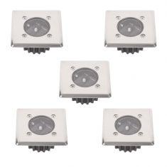5-er Set LED-Solar-Bodeneinbauleuchte McShine  IP44 Edelstahlfront eckig