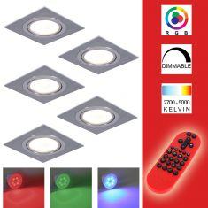 5-er Set RGB Decken-Einbaustrahler, Metall, Aluminium, eckig,schwenkbar, inkl. Fernbedienung