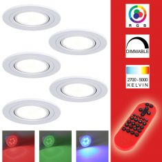 5-er Set RGB LED Decken-Einbaustrahler weiß, rund,schwenkbar inkl. Fernbedienung